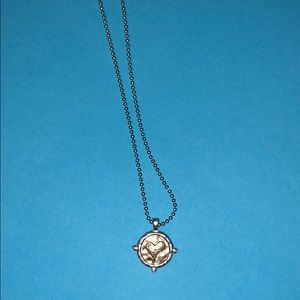 Accessories - Silver necklace with gold circle and heart charm